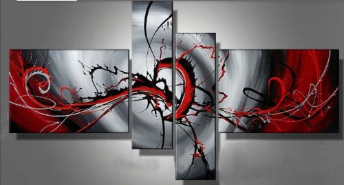 Wieco Art - 100% Hand-painted Modern Canvas Wall Art for Home Decor Stretched and Framed Abstract Oil Paintings on Canvas 4pcs/set I
