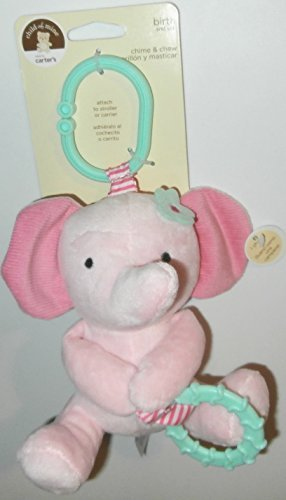 Child of Mine Chime and Chew Soft Plush - Pink Elephant with Teething Ring and Chime - 1