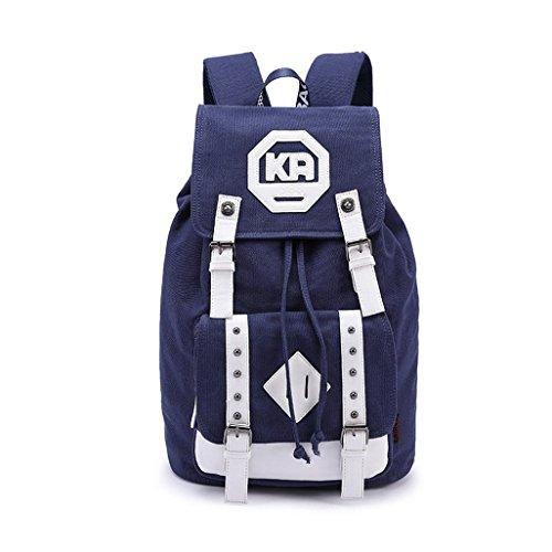 iBaste sac à dos en toile multifonction étudiants sacs pour garcons sac de voyage sac de loisir personnalisé sac cartable élégant pratique (Bleu)