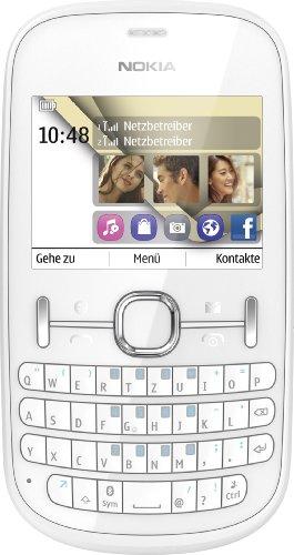 Nokia Asha 200 Handy (6,1 cm (2,4 Zoll) Display, 2 Megapixel Kamera, QWERTZ-Tastatur, Dual-SIM) weiß