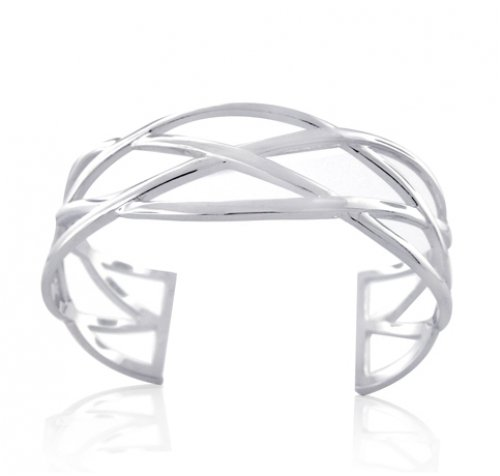 Bling Jewelry 925 Sterling Silver Celtic Knots Open Bangle Cuff Bracelet