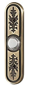 NuTone PB64LAB Wired Lighted Door Chime Push Button, Antique Brass Finish