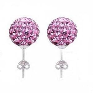 Boucles D'oreilles Clous Style Shamballa Cristal 1cm - Rose