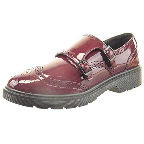 Sopily - Scarpe da Moda scarpa derby alla caviglia donna finitura cuciture impunture verniciato fibbia Tacco a blocco 3 CM - Rosso CAT-3-SN006 T 38