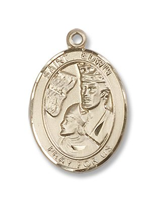 Gold Filled St. Edwin Medal Pendant Charm with 18