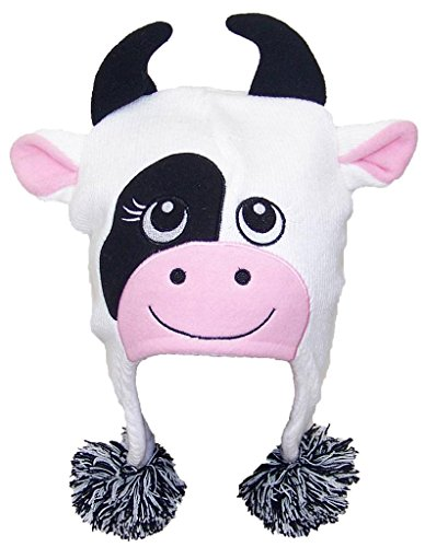 [Best Winter Hats Adult/Teen Knit Cartoon Animal Ear Flap Hat (One Size) - Cow] (Cow Head Hat Adult)
