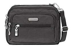 Baggallini Triple Zip Crossbody Travel Bag, Charcoal, One Size