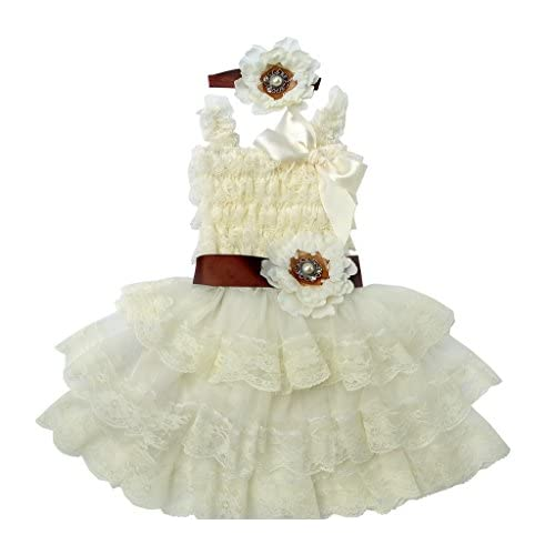 Rosy Kids Vintage Chic Flower Girl Lace Dress, Flower Sash and Hair Flower
