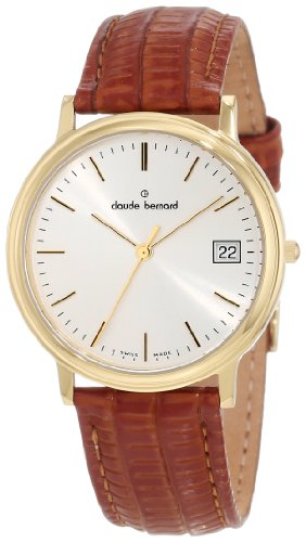 Claude Bernard Men's 70149 37J AID Classic Gents Gold PVD Silver Dial Brown Leather Watch