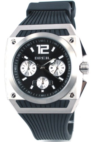 Breil Men's Rod Quartz Watch TW0784 with Black Chronograph Dial, Date, Stainless Steel Case and Black Rubber Strap