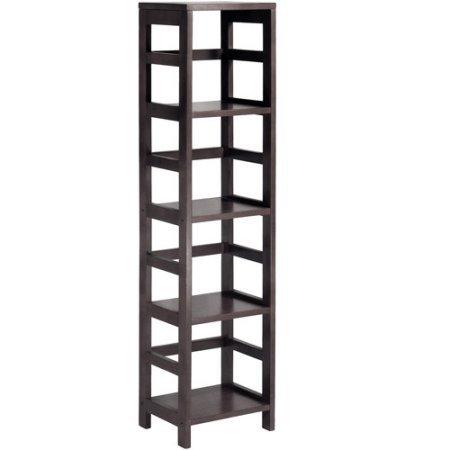 Leo Storage Open Shelf, 5-Tier, 4-Section, Tall, Espresso Mission Style 5 Shelf Bookcase