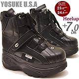 YOSUKE ヨースケ mommou コラボ 厚底 スニーカー ブーツ プラットフォーム 厚底ブーツ スケッチャーズタイプ 厚底シューズ 23.0cm ブラックマルチ