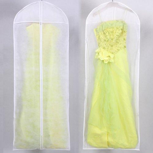 HIMRY® Sacca porta abiti traspirante, per vestiti da sposa / vestiti da sera / vestiti / giacche / cappotti , circa 155 cm, cerniera - Bianco, KXB106 White
