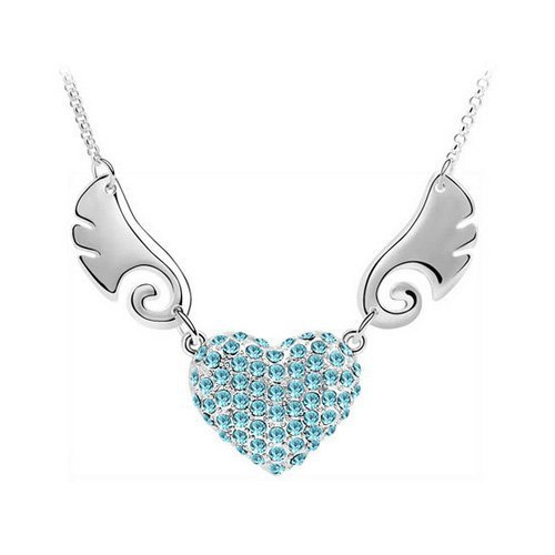 Top Value Jewelry - Unique 18K Gold Plated Azure Pave Heart With Wings Pendant Necklace, Free 18 Inch Chain