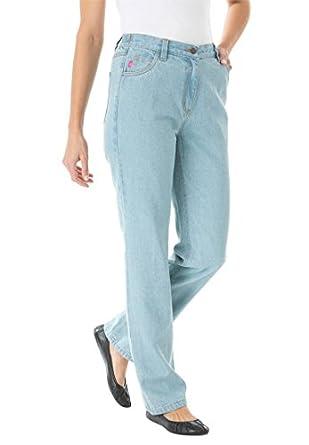 Women's Plus Size Jean, elastic back waist, 5-pocket styling (BLEACH,12 W)
