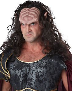 Deep Space Warlord Alien Adult Halloween Costume Half Mask With Hair (Horror Flesh Grey Makeup)