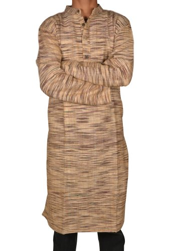 Indian Casual Wear Cotton Khadi Long Kurta with Standing Collar Neckline Fabric For Winter & Summers Size 3XL