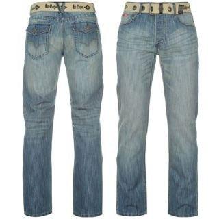 Lee Cooper Belted Jeans Mens Mid Wash 38W R