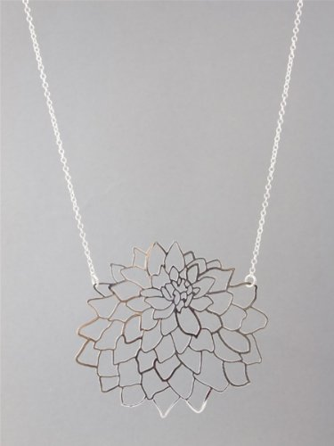 Kris Nations Large Dahlia Necklace - Silver