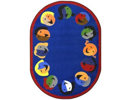 Joy Carpets Kid Essentials Early Childhood Round Joyful Faces Rug, Blue, 7'7""