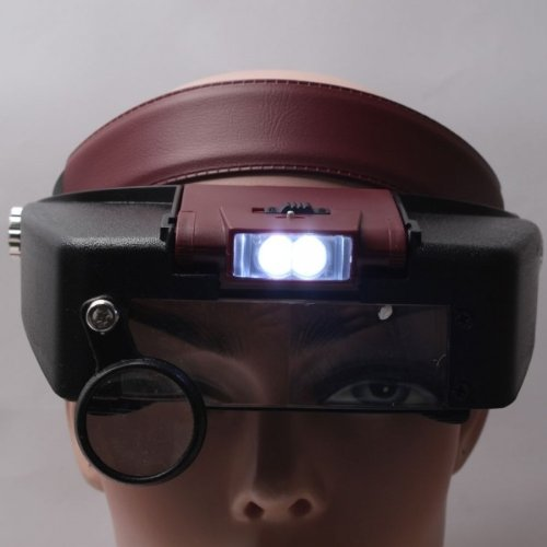 Fast Shipping + Free Tracking Number, Magnifier 1.5X 7X Lens Headband Glasses Style Hand Free Magnifying Glass Head Wearing Loupe Led Light Illumination