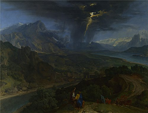 The High Quality Polyster Canvas Of Oil Painting 'Francisque Millet Mountain Landscape With Lightning ' ,size: 16 X 21 Inch / 41 X 53 Cm ,this Beautiful Art Decorative Prints On Canvas Is Fit For Kitchen Decor And Home Decoration And Gifts (Gas Station Lightning compare prices)