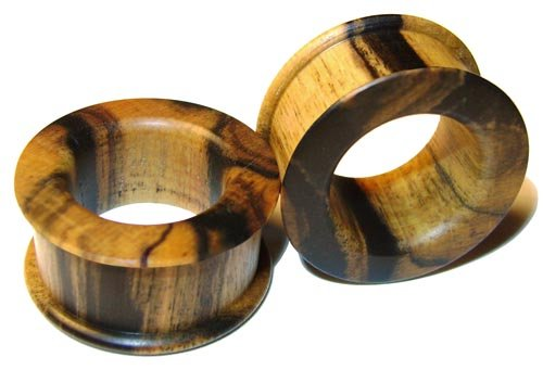 39mm Custom Black and White Ebony Double Top Hat Organic Wood Tunnels