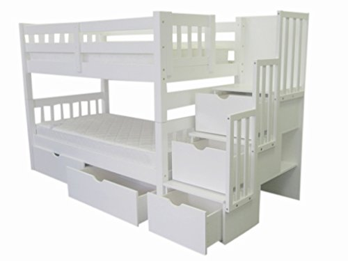 Bedz King Stairway Bunk Twin over Twin Bed with 3 Drawers in the Steps and 2 Under Bed Drawers, White
