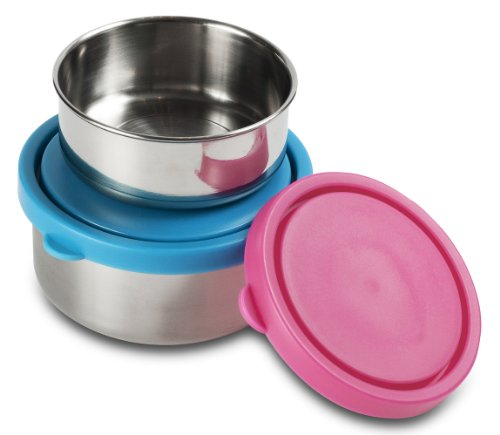 Mira Set Of 2 Stainless Steel Snack, Lunch Boxes/Storage Containers, 1 Medium, 1 Small, Blue And Pink front-569941