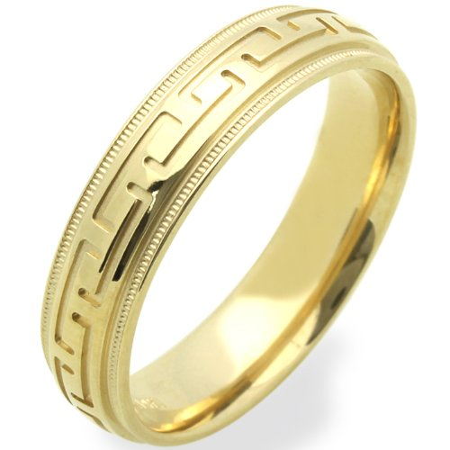 14K Yellow Gold Wedding Bands For Men 5MM Greek Sign Ring , Size 9.5