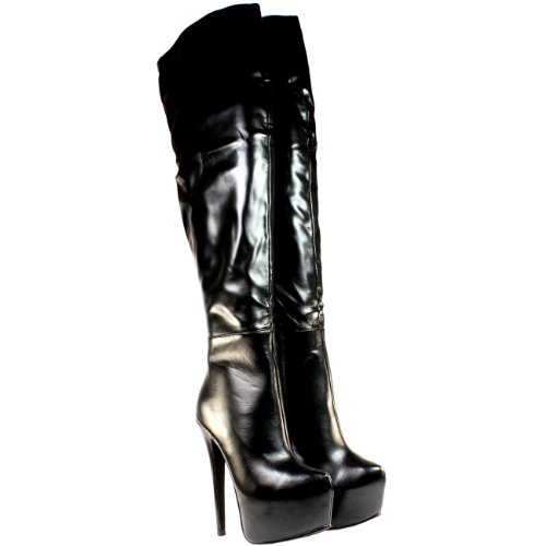 High-Heels-Stiefel: Damen Schuhe Overknee-Stiefel Schwarz Stretch High Heel Boots Schwarz - 40