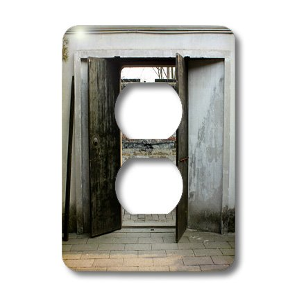 Lsp_164763_6 Albom Design Travel - Old Wooden Cart Seen Through Old Garden Gate Photo From Suzhou, China - Light Switch Covers - 2 Plug Outlet Cover