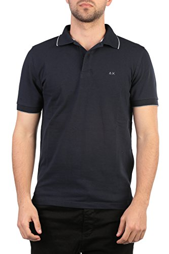 SUN68 Uomo Polo Maglia T-Shirt Primavera Estate Blu Art 16105 07 P16