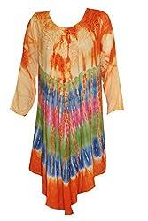 Indiatrendzs Women's Rayon Maxi Dress Fashionable Tie Dye Orange Causal Dresses