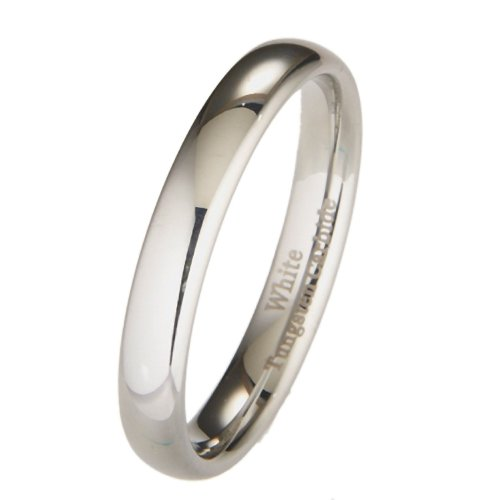 White Tungsten Carbide 4mm Polished Classic Wedding Ring Size 6.5