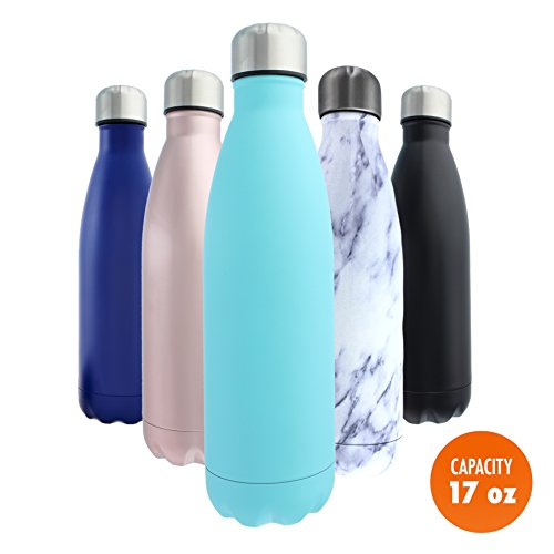 Stainless Steel Water Bottle + Bonus Cleaning Brush! Best for Cold or Hot Drinks. Vacuum Seal with Metal Insulated Double Walled Flask, BPA Free Warm for 12 Hours Cold for 24 (Turquoise Tango, 17Oz)