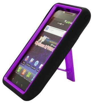 BLACK/PURPLE Armor 3 IN 1 High Impact Combo Hard Soft Gel Case Stand For LG Lucid VS840 (Verizon) (Verizon Lg Lucid 4g compare prices)