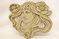 Emily Art Nouveau Wall Plaque-Garden Ornament-Woman Figure-Sculpture-Stone-Gift by DSL