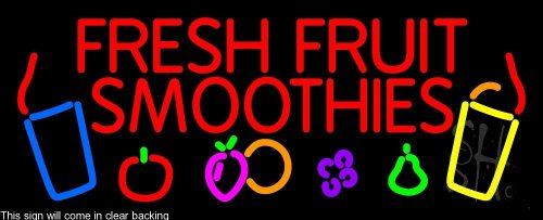 """Red Fresh Smoothies Clear Backing Neon Sign 13"""" Tall X 32"""" Wide front-5639"""