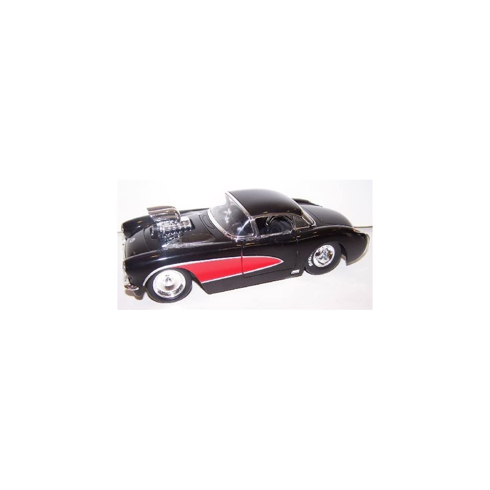Jada Toys 1/24 Scale Diecast Big Time Muscle with Blown Engine 1957 Chevy Corvette in Color Black