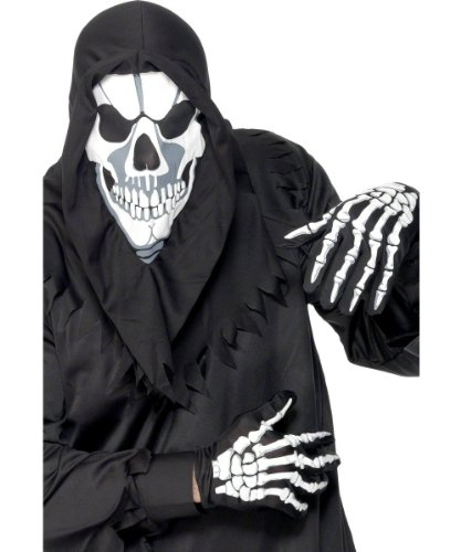 Smiffy's Men's Skeleton Instant Kit with Hood and Gloves, Black/White, One Size - 1
