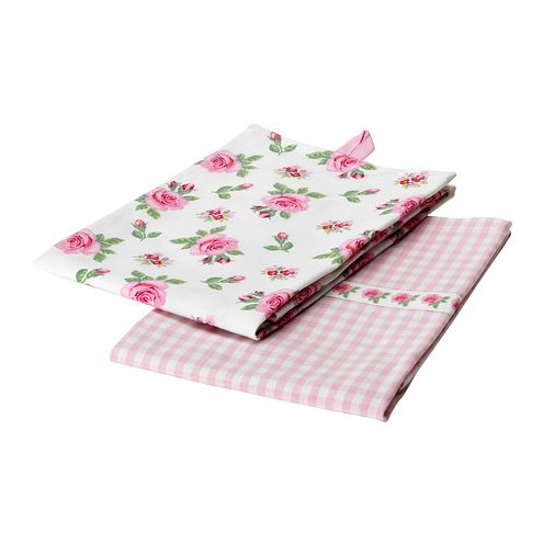 2 Dish Towels Pink Rose & Checker Print 28x20