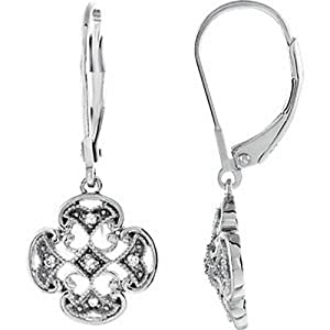 IceCarats Designer Jewelry Sterling Silver .07 Ctw Diamond Lever Back Earrings Sterling Silver