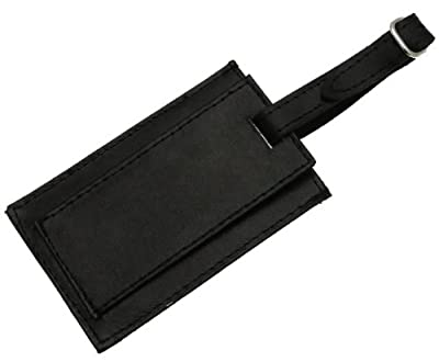 Genuine Black Leather Luggage Label Tag Holder Cover