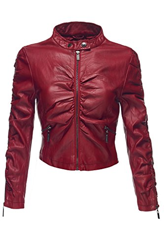 Crinkled Faux Leather Moto Biker Slim Fit Crop Jackets, Medium, 052-Red