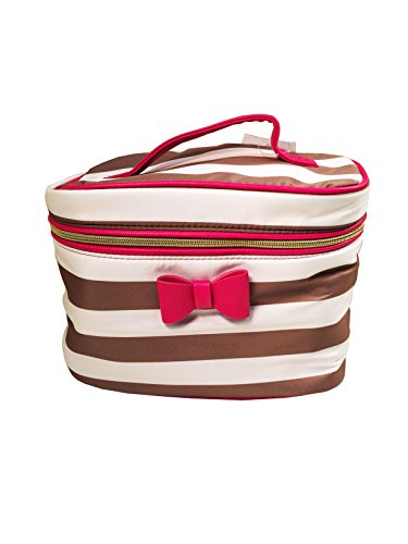 Betsey Johnson Train Comstetic Tote Makeup Bag (SPICE STRIPE/PINK) (Register Online Account compare prices)