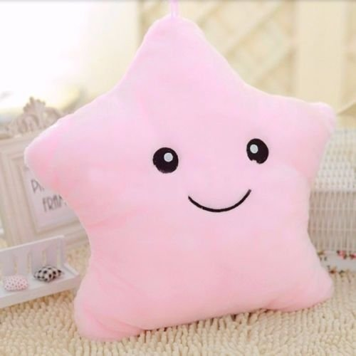 Sunlightam Romantic LED Light Up Glow Pillow Soft Cosy Relax Cushion Birthday Christmas Valentine's Gift (Pink, Star Shape)