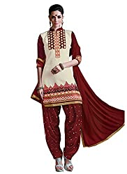 Cotton Patch Work Cream Semi Stitched Patiala Suit