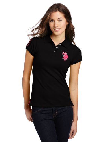 Us Polo Assn. Juniors Solid Polo With Tonal Big Pony, Black/Pink, X-Large