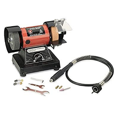 Neiko 10207A 3-Inch Mini Bench Grinder and Polisher with Flexible Shaft and Accessories | 120W